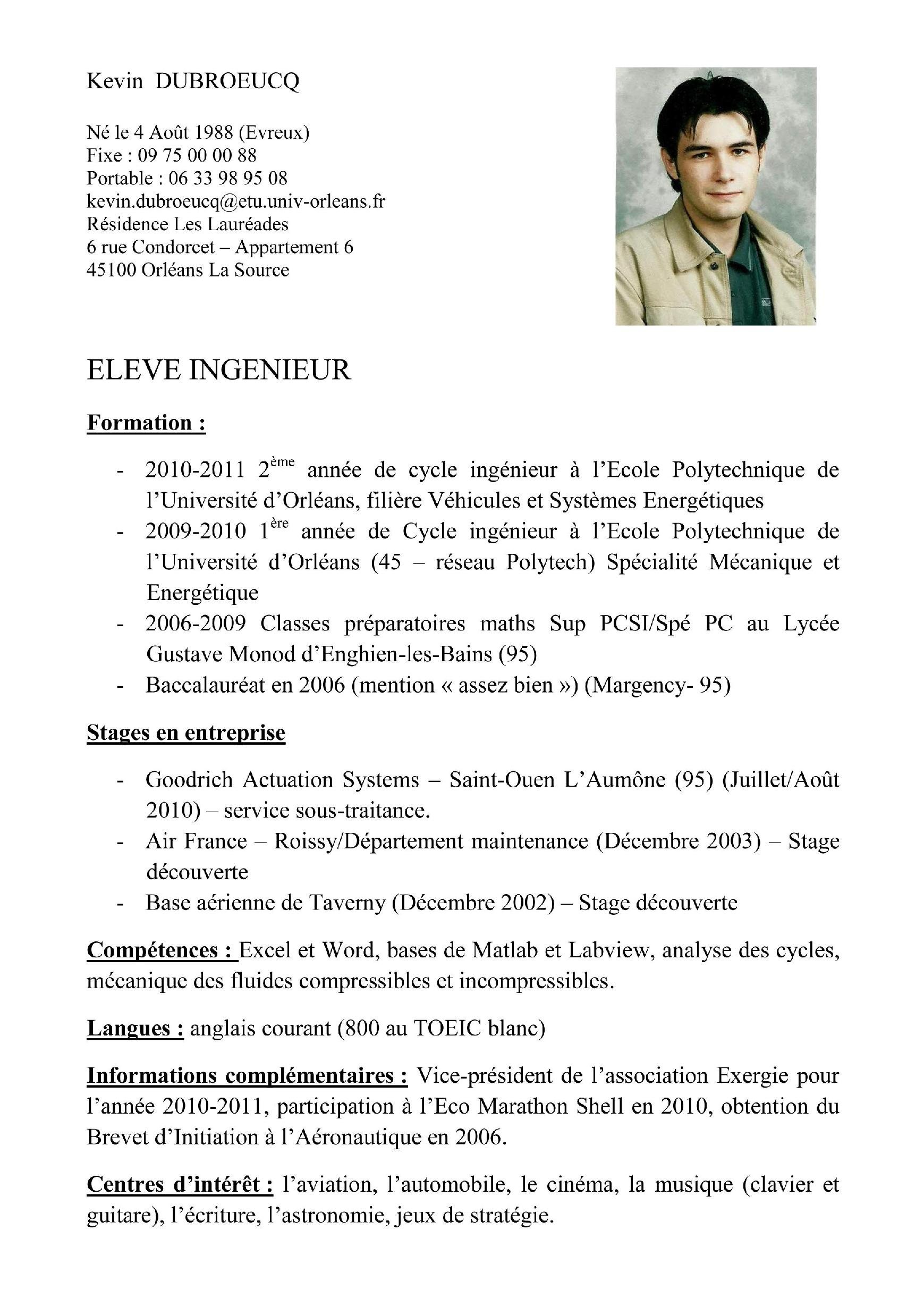 Comment rédiger un cv exemple model de cv word simple | Artere